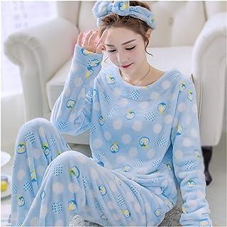 HZMM Pijamas Pijamas De Dibujos Animados Pijamas Set De Manga Larga Azul De Las Mujeres Camisa Linda Amp Pant Sueño Conjunto De Invierno De Franela De La Ropa De Noche De Chicas 1PCS Pijamas Traje Cam