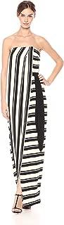 Halston Heritage Women's Strapless Striped Tie Waist Detail Gown