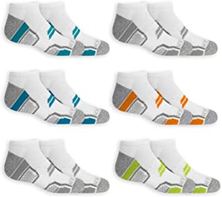 Fruit of the Loom Boys Active No Show Socks, 6 Pack, Medium, Shoe Size 9-2.5