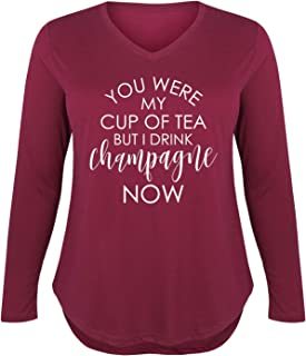 I Drink Champagne Now - Ladies Plus V-Neck Long Sleeve Tee