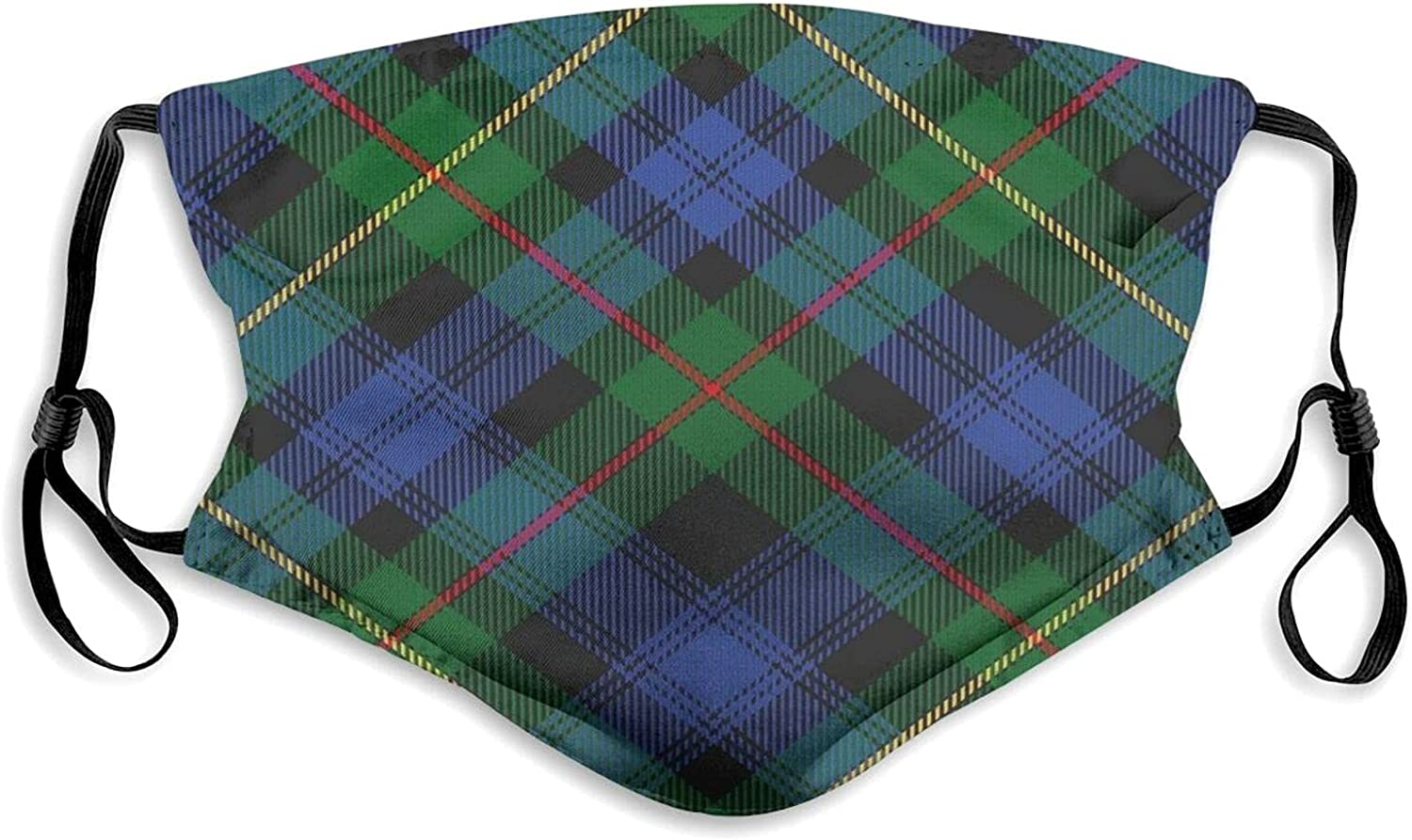 Scottish Clan Macewen McEwen Tartan Cloth face mask with Filter Pocket Washable Face Bandanas Balaclava Dust-Proof Print Reusable Fabric Protection with 2 Pcs Filters