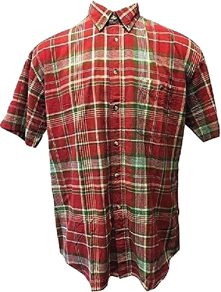 Falcon Bay Short Sleeve Red/Green Plaid Sport Shirt 100% Cotton