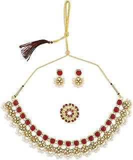 Zaveri Pearls Pink Kundan Traditional Necklace Earring & Ring Set For Women-ZPFK10776