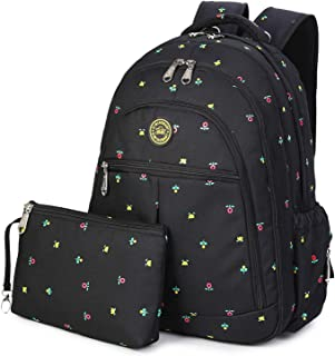 QIMIAOBABY Diaper Bag Smart Organizer Waterproof Travel Diaper Backpack Handbag with Changing Pad and Stroller Clips and Carry Pouch (Black Flowers)