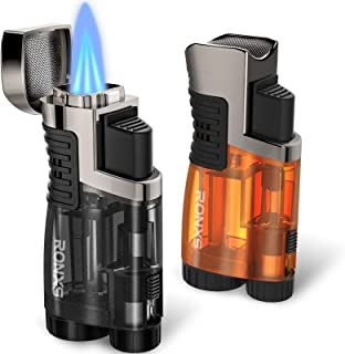 RONXS Torch Lighter 2 Pack Triple Jet Flame Butane Lighter, Pocket Lighter with Punch Cutter, Refillable Windproof Lighter (Butane Gas Not Included)