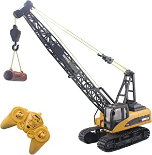 Fistone RC Truck Crawler Tower Crane Hoist Dragline Die-cast Model Lifiting Cable Remote Control Excavator Tractor Digging Engineering Toy Construction Vehicle