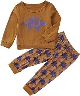Oklady Baby Boy Clothes Dinosaur Print Long Sleeve T-Shirt + Pant Set