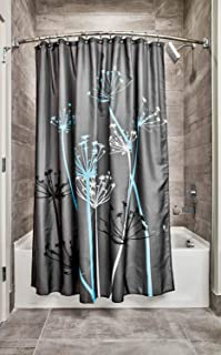 iDesign Thistle Fabric Shower Curtain, Modern Mildew-Resistant Bath Curtain for Master Bathroom, Kid's Bathroom, Guest Bathroom, 72 x 72 Inches, Gray and Blue