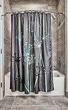 iDesign Thistle Fabric Shower Curtain, Modern Mildew-Resistant Bath Curtain for Master Bathroom, Kid's Bathroom, Guest Bathroom, 72 x 72 Inches, Gray and Blue
