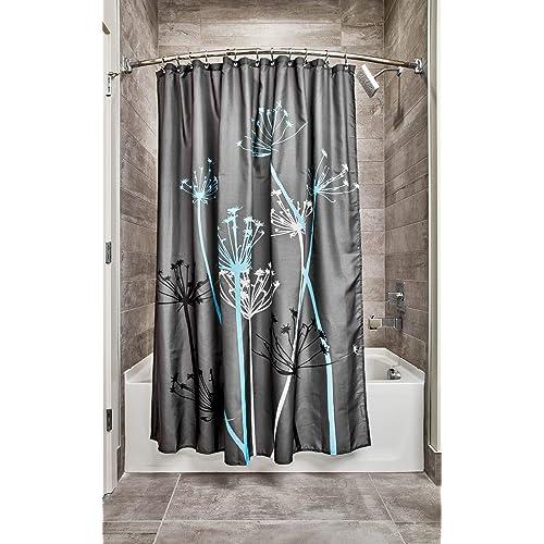 InterDesign Thistle Shower Curtain High Bathtub Made Of Polyester Grey Blue