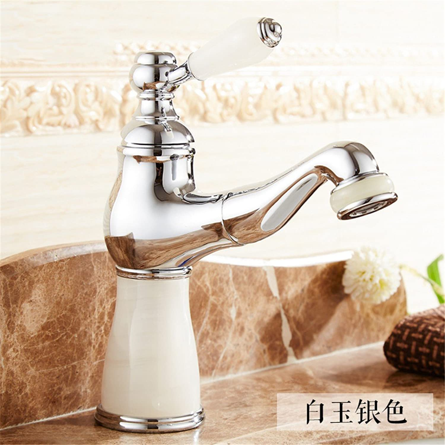 Fbict European Jade Faucet Copper Pull Faucet Bathroom Basin Single Hole Basin hot and Cold Bath Cabinet Faucet, Silver for Kitchen Bathroom Faucet Bid Tap
