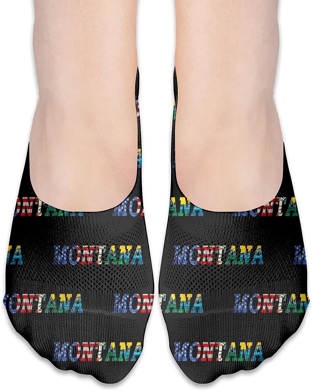 Seal Of Montana State Flag America Flag No Show Socks Adult Short Socks Athletic Casual Crew Socks
