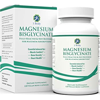 Magnesium Bisglycinate Chelate - Reduce Muscle Cramps and Improve Sleep - Maximum Absorption with no Laxative Effects - 100% Chelated - 200 mg of Pure Magnesium Bisglycinate Per Capsule