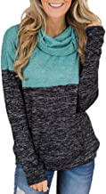 Kulywon Sweaters For Women Womens Turtleneck Tops Splice Solid Shirts Tunic Long Sleeve Pullover Sweatshirt