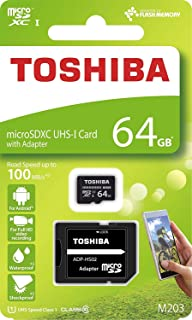 Toshiba 64GB Micro SD Memory Card M203 SDHC UHS1 U1 Class10 with SD Adapter (THN-M203K0640A2)