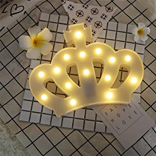 3D Crown Marquee Sign Light,LED Queen Princess Kings Shaped Sign-Lighted,Wall Decor for Chistmas,Birthday Party,Kids Room, Living Room, Wedding Party Decor(White)