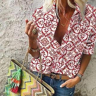 قمصان وتيشيرتات نسائية مطبوعة عتيقة بأكمام طويلة بلون سادة بأكمام طويلة من Makfacp (اللون: أحمر، المقاس: XL)