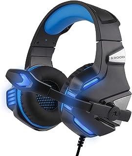 Redlemon Audífonos Gamer Pro con Luz LED, Sonido Estéreo High Definition 360°, Micrófono con 160° de Movimiento, Control de Volumen, Conexión 3.5 mm, Compatibilidad Universal Mod. G3000