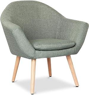 Mc Haus NAVIAN - Sillón Nórdico Escandinavo de color Verde pistacho, butaca comedor salón dormitorio, sillón acolchado con Reposabrazaos y patas de madera 47x74x76cm