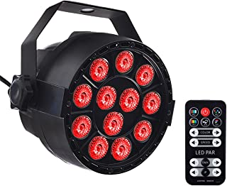 Eyourlife Par Light 12 LED RGB 3 IN 1 Stage Lighting by Remote Control and DMX 512 for Club Disco Party Ballroom KTV Bar Wedding DJ Live Show