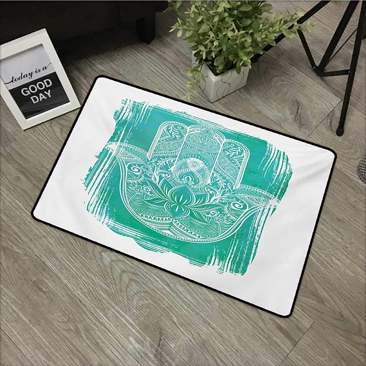 Interior mat W35 x L59 INCH Hamsa,Grungy Display with Fatima Hand Flourishing Lotus Meditation Zen Ethnic Culture,Turquoise White Natural dye printing to predect your baby's skin Non-slip Door Mat Car