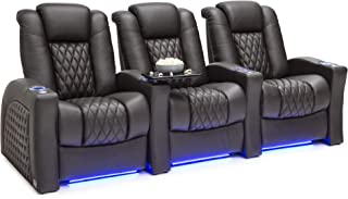 Seatcraft Stanza - Home Theater Seating - Power Recliners - Leather - Adjustable Powered Headrest and Lumbar Support - Cup Holders - USB Charging - Ambient Lighting- SoundShaker - Row of 3 - Brown