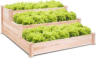 Giantex 3 Tier Wooden Elevated Raised Garden Bed Planter Kit Grow Gardening Vegetable Natural Cedar Wood, 49