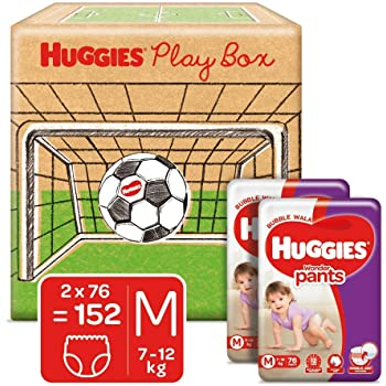 Huggies Wonder Pants Play Box, Monthly Box Pack Diapers, Medium Size, 152 Count