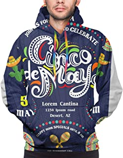 Men's Hoodie,Cinco De Mayo Announcing Poster Template. Text Customized for Invitation,Sweatshirt