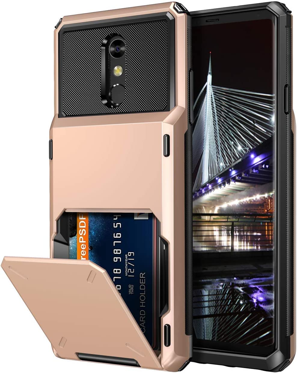 Vofolen Case for LG Stylo 4 Case Wallet [4-Card Pocket] Credit Card Holder ID Slot Anti-scratch Dual Layer Protective Bumper Rubber Armor Non-slip Hard Shell Cover Case for LG Stylo 4 4 Plus Rose Gold