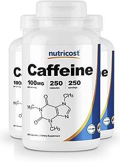 Nutricost Caffeine Pills 100mg Per Serving, 250 Capsules (3 Bottles)