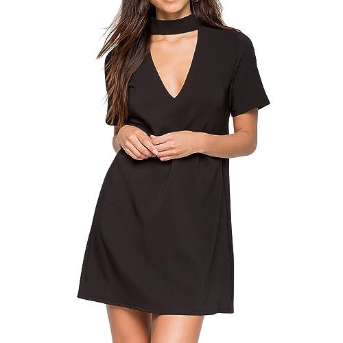 ec2d59517f8c Futurino Women s Solid Shift Mini Party Dress with Cut Out Choker V Neck