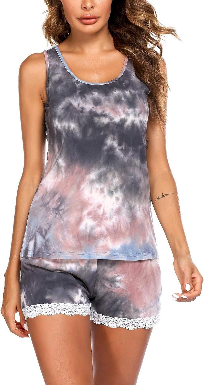 Ekouaer Womens Pajama Set Sleeveless Tank Top and Shorts Pj Set Lace Hem Sleepwear S-XXL