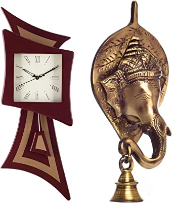 eCraftIndia Square Wood Pendulum Wall Clock (22.86 cm X 2.54 cm X 58.41 cm, Brown) & Lord Ganesh Face Brass Wall Hanging with Bell (8 cm X 8 cm X 17, Brown and Golden) Combo