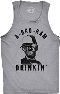 Mens Fitness Tank A-Bro-Ham Drinkin Funny 4th of July Abe Lincoln Tanktop for Guys