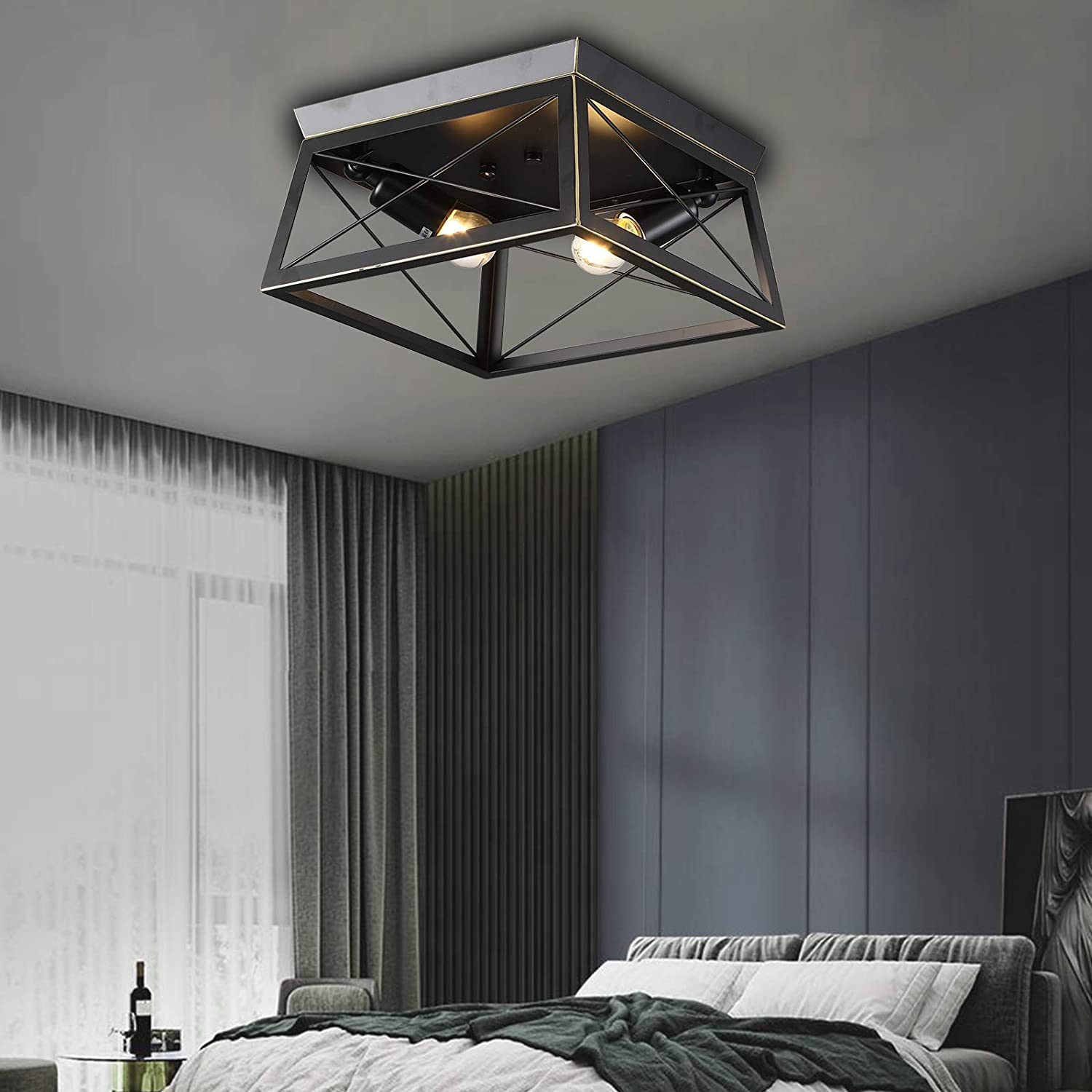 New Free Shipping TFCFL Limited time sale Industrial Ceiling Light Flush Farmhouse M Fixtures