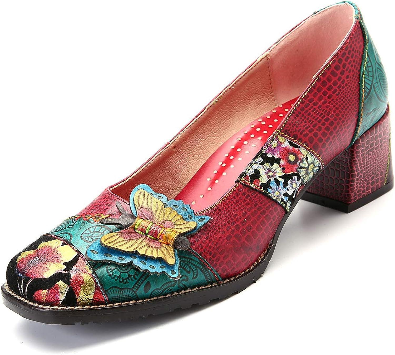 CrazycatZ Womens Leather Pumps Block Heel Pumps Slip On Block Heel Splicing Pattern shoes