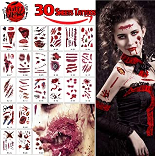 30 Sheets Halloween Tattoos, 200 Pcs Scar Tattoos Waterproof Temporary Sticker, Horror Realistic Fake Blood Temporary Tattoos, Bleeding Wound Horror Injury Tattoo Stickers for Zombie Cosplay Party