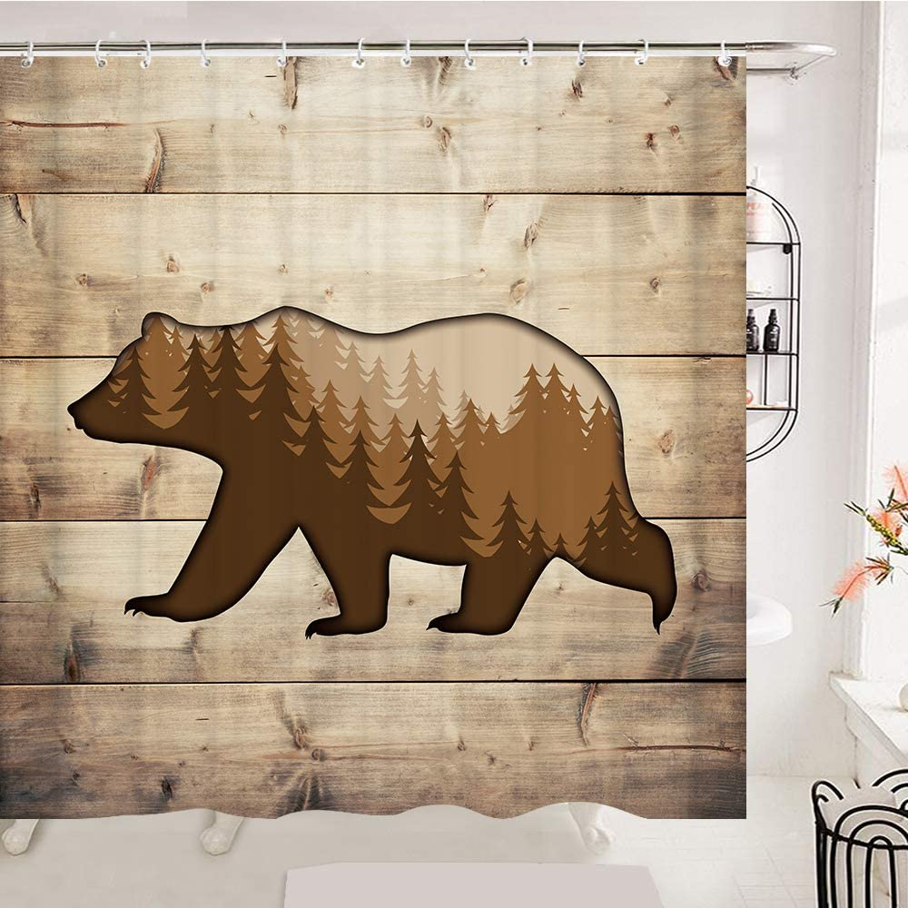OCCIGANT Wildlife Bear At the price Shower Curtain Pine Forest 5 ☆ popular Tr Foggy Misty