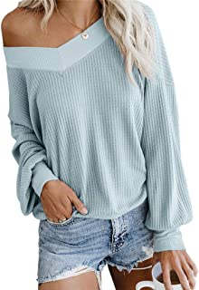 Nicetage Women's V Neck Long Sleeve Waffle Knit Tops Off Shoulder Pullover Sweater Loose Shirts Blouse