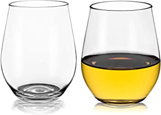 Unbreakable Elegant Stemless Plastic Glasses,19 OZ 100% Tritan Wine Glasses, Shatterproof, BPA-FREE, Dishwasher safe, Indoor Outdoor durable Wine glassware Set of 2