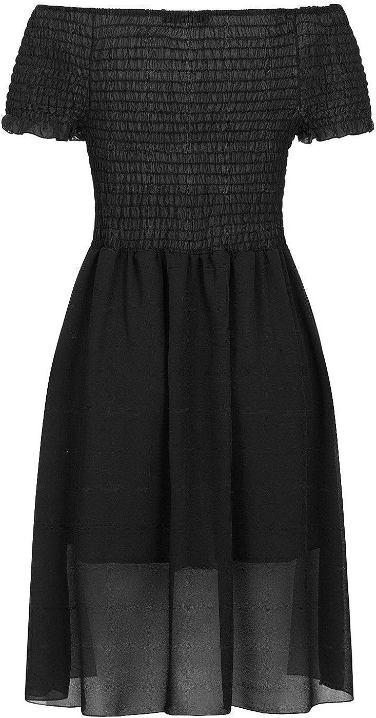 Styleboom Fashion/® Damen Kleid 2-Layer Off-Shoulder Chiffon Dress schwarz