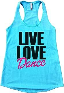 """Womens Tank Top Flowy """"Live Love Dance"""" Cheerleading Fan Fitness"""