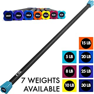"""Weighted Workout Bar by Day 1 Fitness - 7 Weight Options from 5-30LBS - Padded Foam, 48""""-60"""