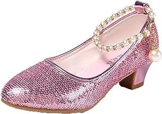 Zapatos de Princesa para niñas cómodos Suela Suave tacón bajo Punta Redonda Zapatos de Cuero Zapatos de Baile para niños F...