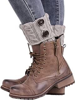 EUBUY Womens Short Boot Cuffs Crochet Leg Warmer Knit Socks Button Toppers