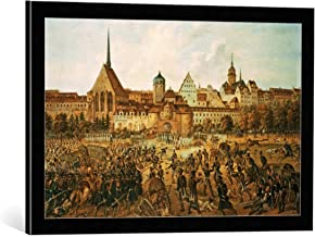 Framed Art Print: Ernst Wilhelm Straßberger Battle at The Grimmaien Gate - Decorative Fine Art Poster, Picture with Frame, 27.6x17.7 inch / 70x45 cm, Black/Edge Grey