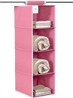 HomeStrap Non Woven Hanging 4 Shelves Wardrobe/Closet Cloth Organizer- Pink