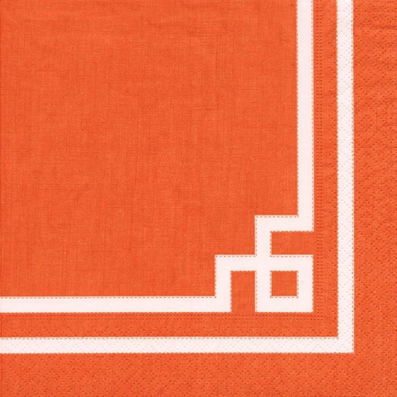 Caspari 3-Ply Paper Rive Gauche, 20 Count Cocktail Napkins, Orange, Set of 2