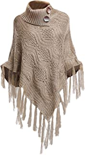 Bellady Women's High Collar Batwing Tassels Poncho Cape Winter Knit Sweater Cloak